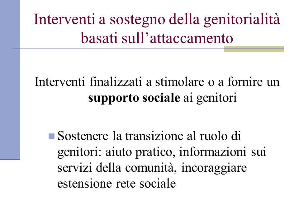 Interventi a sostegno della genitorialità basati sullattaccamento Interventi finalizzati a stimolare o a fornire un supporto sociale ai genitori Soste