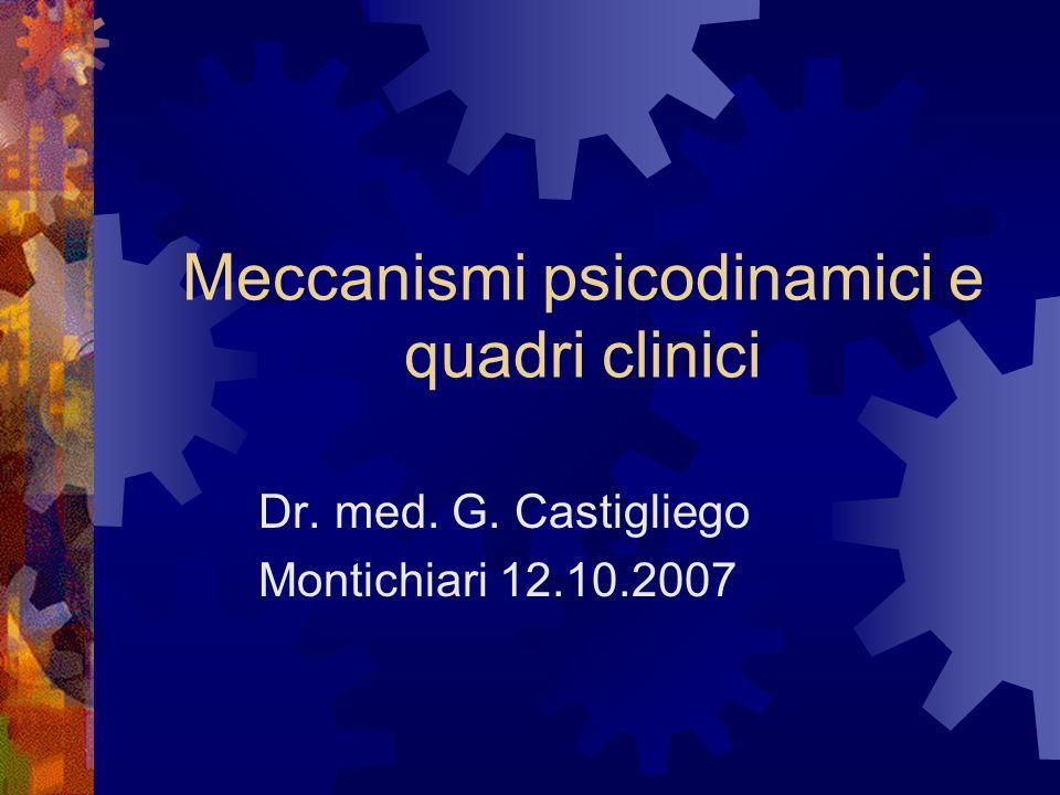 Meccanismi psicodinamici e quadri clinici Dr. med. G. Castigliego Montichiari 12.10.2007
