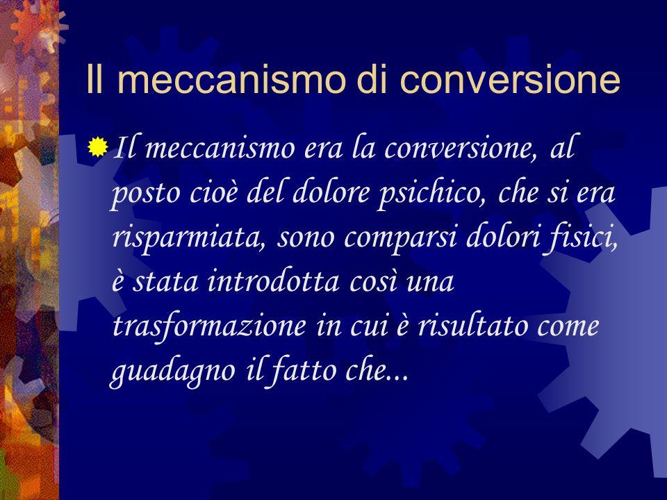 Il meccanismo di conversione Il meccanismo era la conversione, al posto cioè del dolore psichico, che si era risparmiata, sono comparsi dolori fisici,