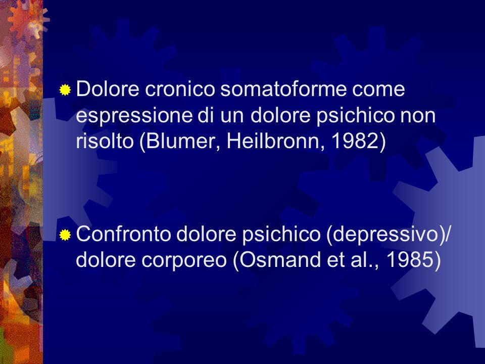 Dolore cronico somatoforme come espressione di un dolore psichico non risolto (Blumer, Heilbronn, 1982) Confronto dolore psichico (depressivo)/ dolore