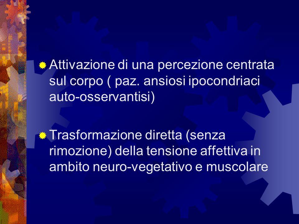 Attivazione di una percezione centrata sul corpo ( paz. ansiosi ipocondriaci auto-osservantisi) Trasformazione diretta (senza rimozione) della tension