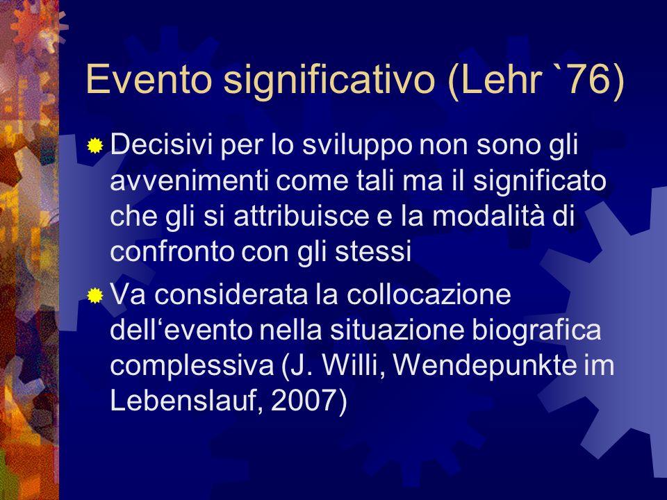 Evento significativo (Lehr `76) Decisivi per lo sviluppo non sono gli avvenimenti come tali ma il significato che gli si attribuisce e la modalità di