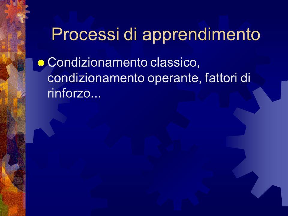 Processi di apprendimento Condizionamento classico, condizionamento operante, fattori di rinforzo...