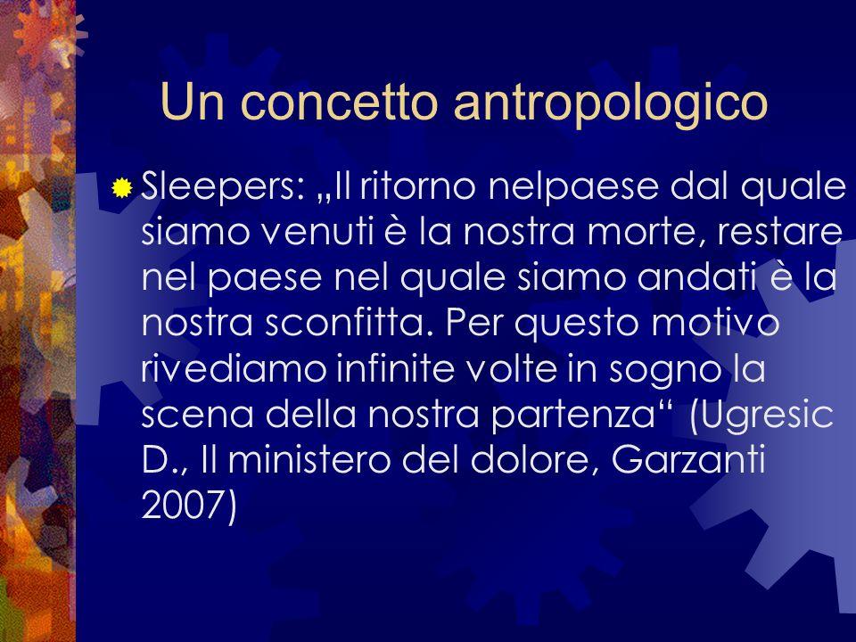 Un concetto antropologico Sleepers: Il ritorno nelpaese dal quale siamo venuti è la nostra morte, restare nel paese nel quale siamo andati è la nostra