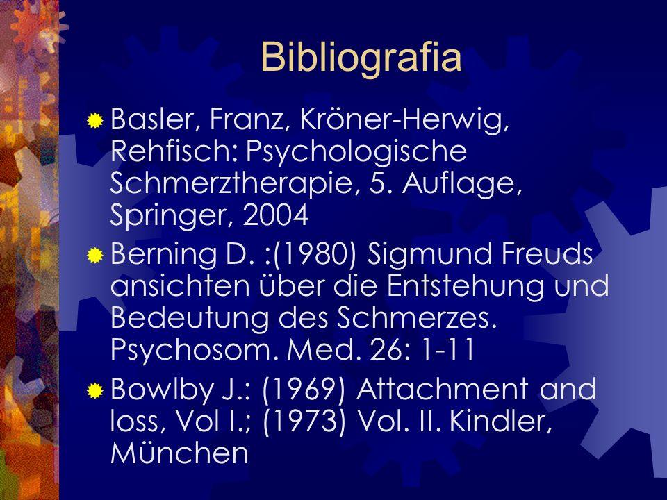 Bibliografia Basler, Franz, Kröner-Herwig, Rehfisch: Psychologische Schmerztherapie, 5. Auflage, Springer, 2004 Berning D. :(1980) Sigmund Freuds ansi