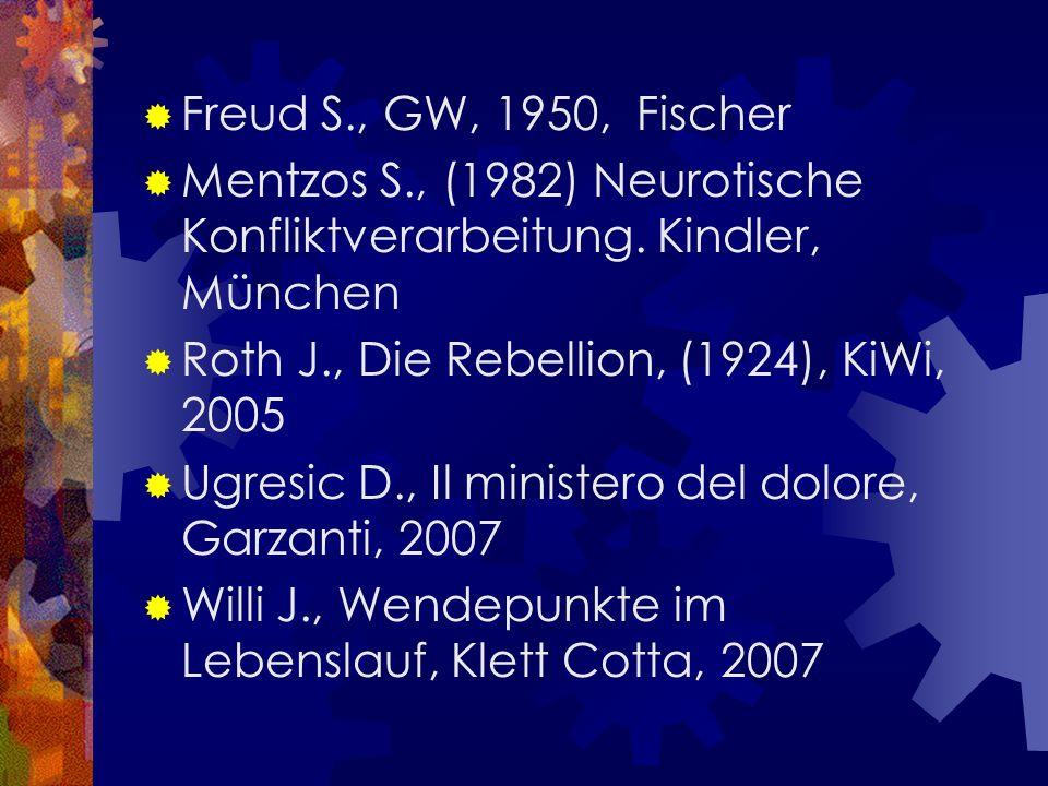Freud S., GW, 1950, Fischer Mentzos S., (1982) Neurotische Konfliktverarbeitung. Kindler, München Roth J., Die Rebellion, (1924), KiWi, 2005 Ugresic D