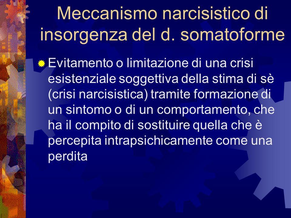 Meccanismo narcisistico di insorgenza del d. somatoforme Evitamento o limitazione di una crisi esistenziale soggettiva della stima di sè (crisi narcis