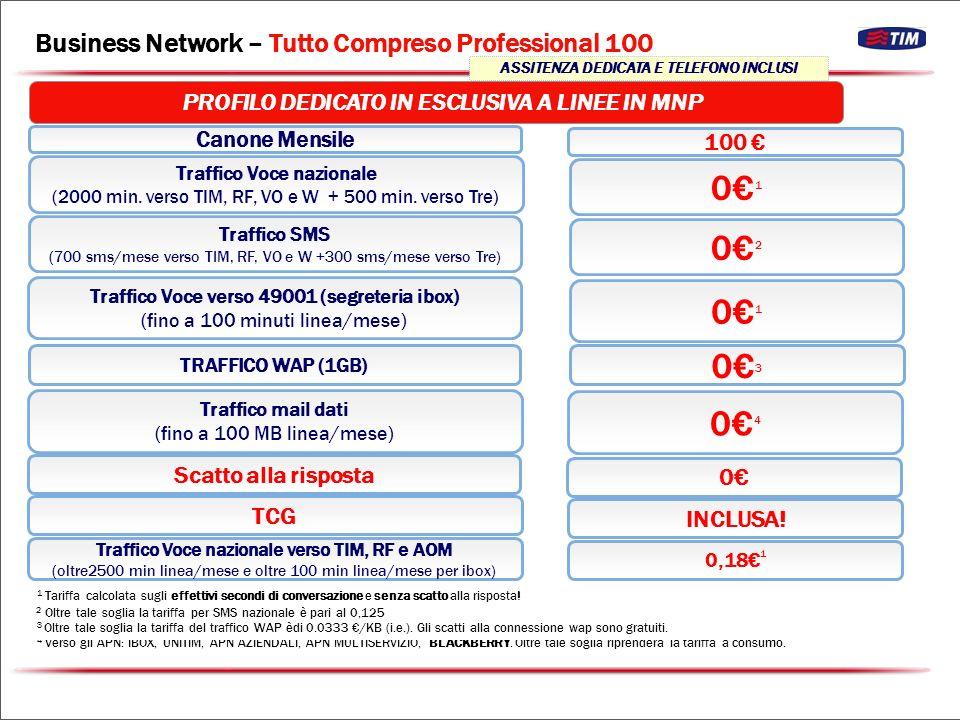 Traffico Voce nazionale (max 4500 minuti verso TI, RF, VO e W, e 500 verso Tre) Canone Mensile Traffico Voce nazionale verso TIM, RF e AOM (oltre i 4500+500 minuti mese linea) Traffico Voce verso 49001 (segreteria ibox) (fino a 500 minuti linea/mese) Traffico mail dati (fino a 100 MB linea/mese) Scatto alla risposta 0202 0,18 1 0202 0505 0 Traffico SMS (max 1200 verso TIM,RF, VO e W e 300 verso Tre) 0303 TRAFFICO WAP (1GB) 0404 Business Network – Tutto Compreso Professional Unlimited New TCG INCLUSA.