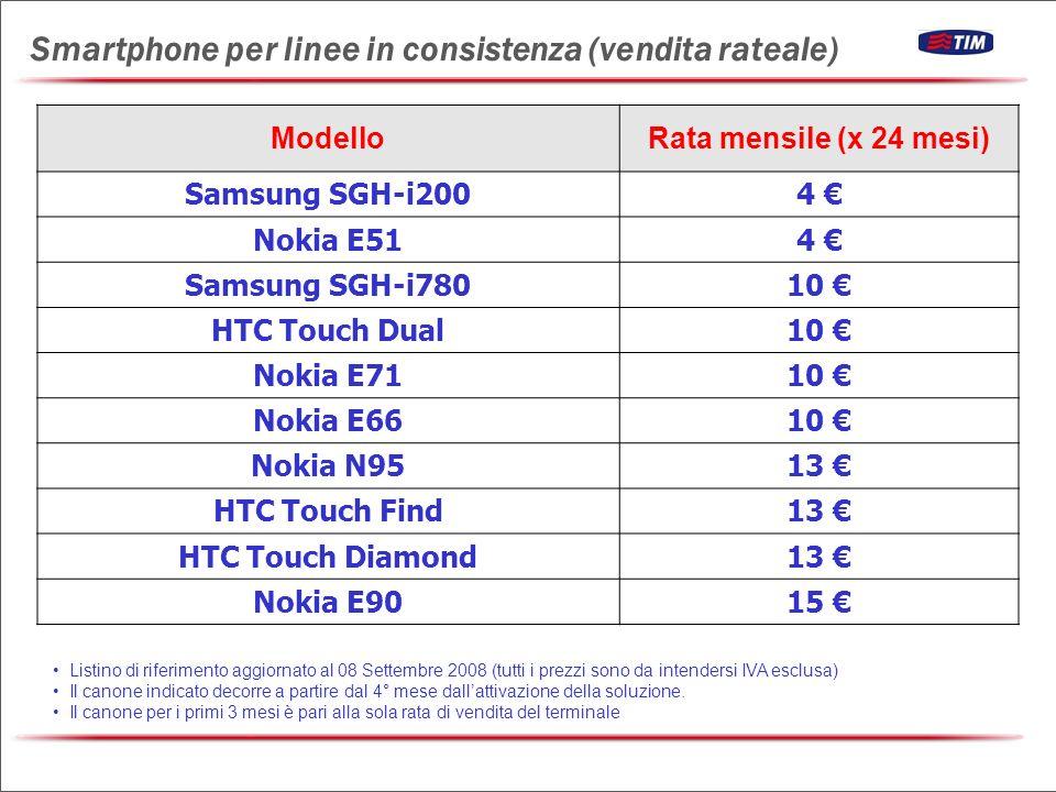 ModelloRata mensile (x 24 mesi) Samsung SGH-i2004 Nokia E514 Samsung SGH-i78010 HTC Touch Dual10 Nokia E7110 Nokia E6610 Nokia N9513 HTC Touch Find13 HTC Touch Diamond13 Nokia E9015 Listino di riferimento aggiornato al 08 Settembre 2008 (tutti i prezzi sono da intendersi IVA esclusa) Il canone indicato decorre a partire dal 4° mese dallattivazione della soluzione.
