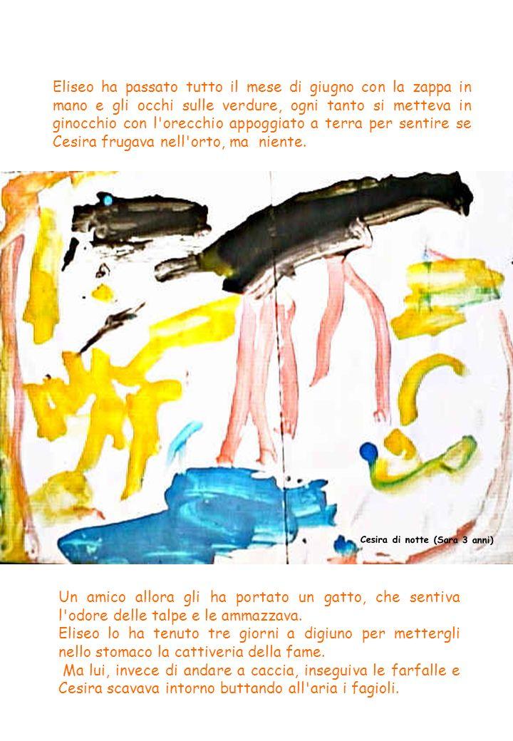 Quando poi, ha saputo che le talpe sbucano fuori di notte, Eliseo si era messo a dormire di giorno e tutte le sere fino alla mattina presto girava nell orto con le tasche piene di fiammiferi che accendeva di colpo, quando sentiva smuovere tra l erba.