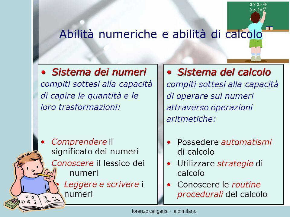 lorenzo caligaris - aid milano Comprensione del numero (meccanismi semantici) Codificare semanticamente un numero equivale a rappresentare mentalmente la quantità che esso rappresenta e quindi a identificarne la posizione che esso assume allinterno della linea dei numeri.