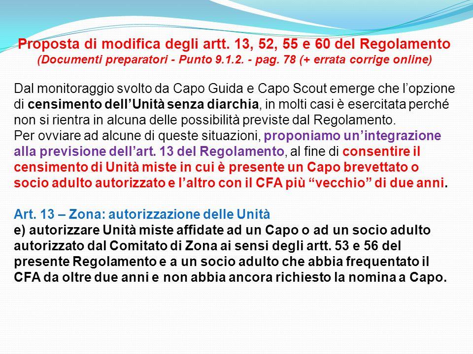 Proposta di modifica degli artt. 13, 52, 55 e 60 del Regolamento (Documenti preparatori - Punto 9.1.2. - pag. 78 (+ errata corrige online) Dal monitor