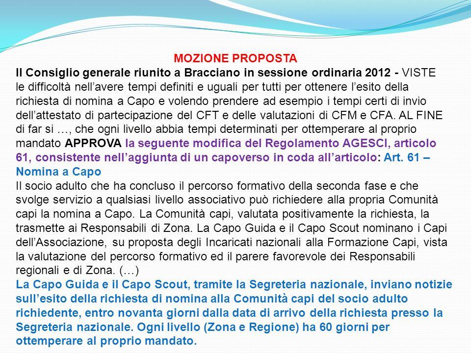 MOZIONE PROPOSTA Il Consiglio generale riunito a Bracciano in sessione ordinaria 2012 - VISTE le difficoltà nellavere tempi definiti e uguali per tutt
