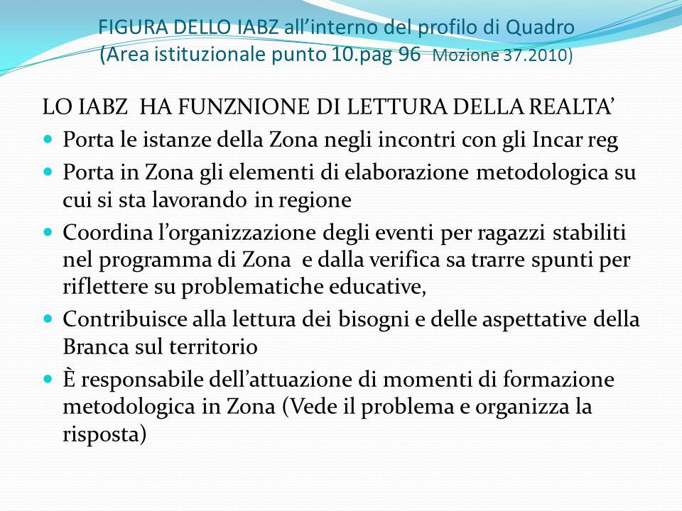 FIGURA DELLO IABZ allinterno del profilo di Quadro (Area istituzionale punto 10.pag 96 Mozione 37.2010) LO IABZ HA FUNZNIONE DI LETTURA DELLA REALTA P