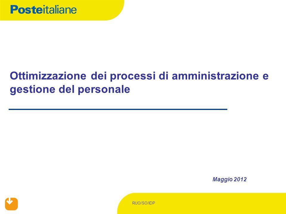 Ottimizzazione dei processi di amministrazione e gestione del personale Maggio 2012 RUO/SO/IDP