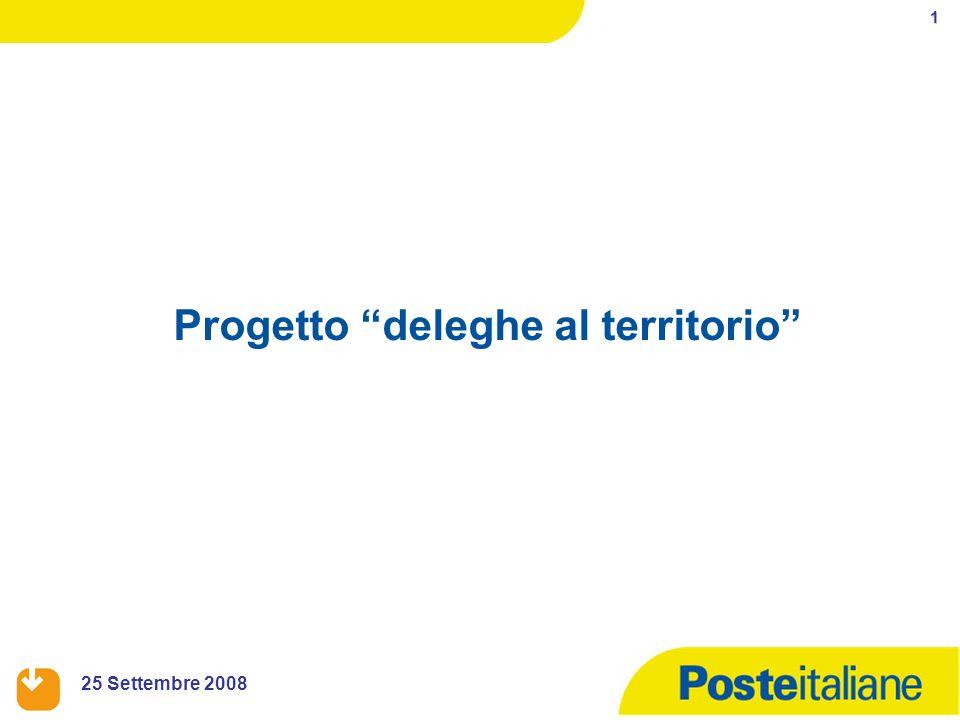 1 25 Settembre 2008 Progetto deleghe al territorio