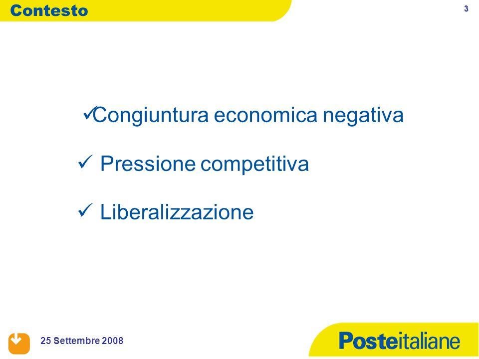 3 25 Settembre 2008 Congiuntura economica negativa Pressione competitiva Liberalizzazione Contesto