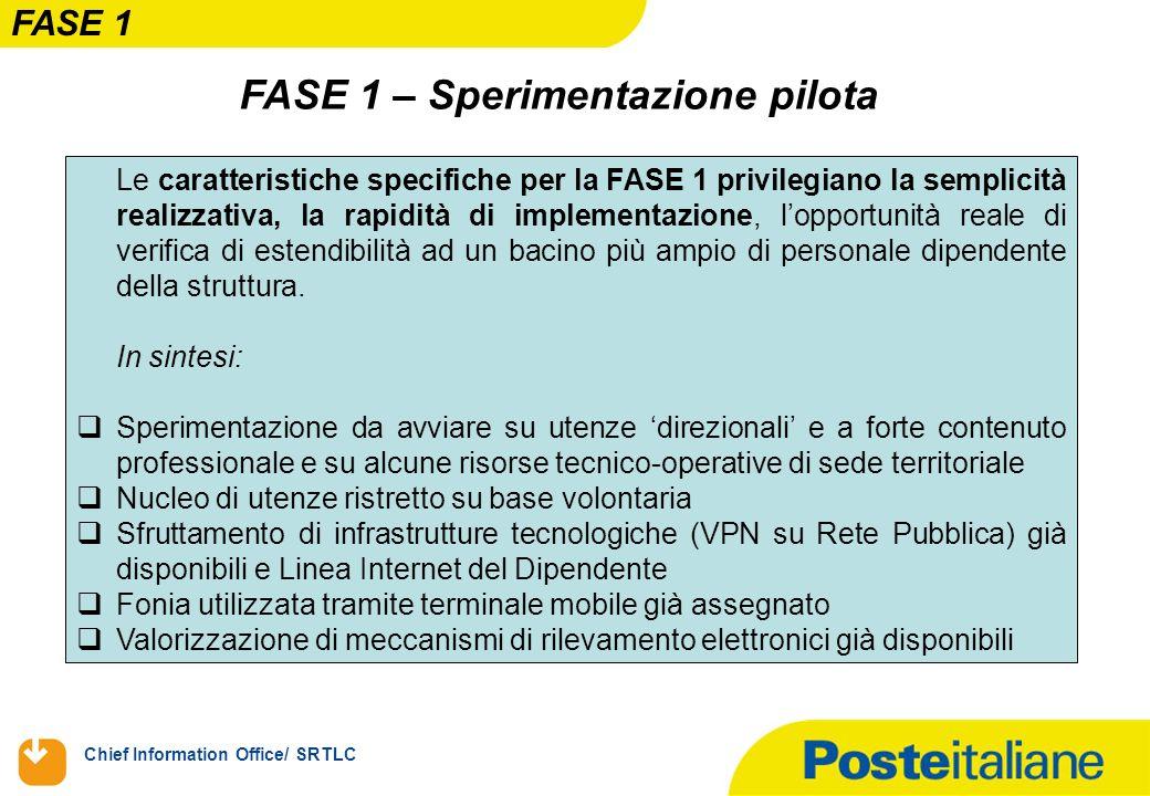 Chief Information Office/ SRTLC FASE 1 – Sperimentazione pilota Le caratteristiche specifiche per la FASE 1 privilegiano la semplicità realizzativa, l