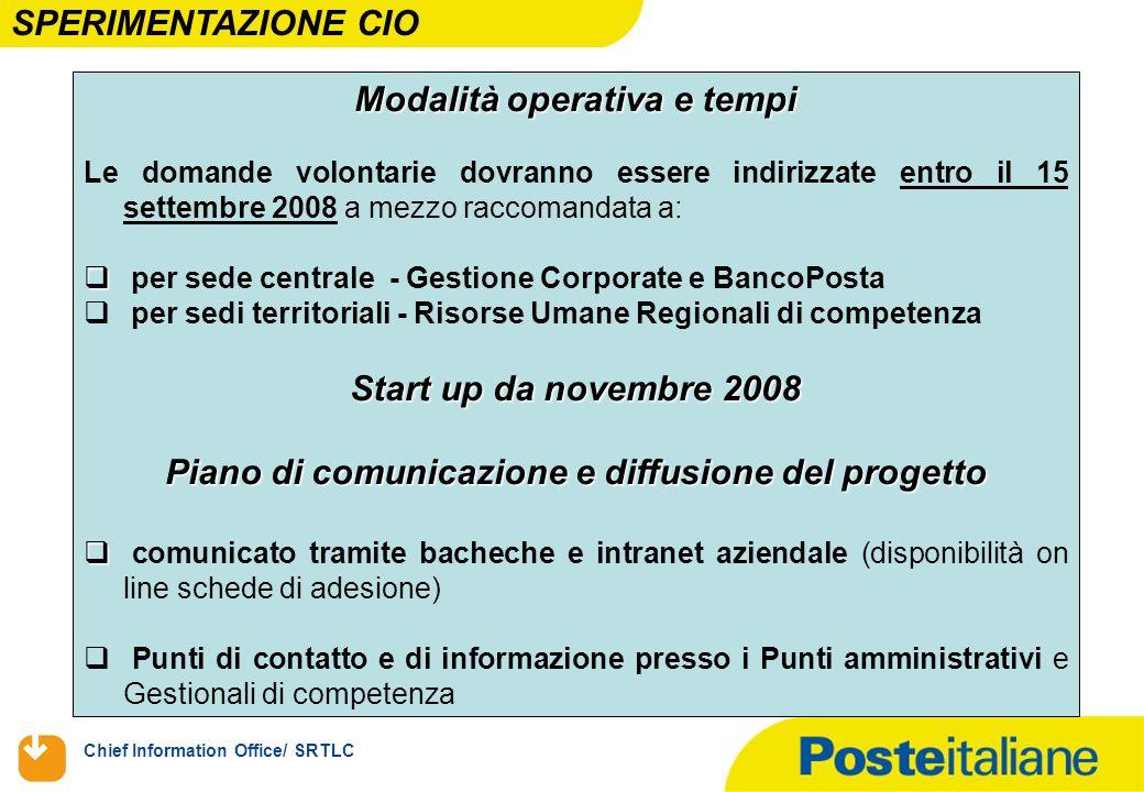 Chief Information Office/ SRTLC Modalità operativa e tempi Le domande volontarie dovranno essere indirizzate entro il 15 settembre 2008 a mezzo raccom