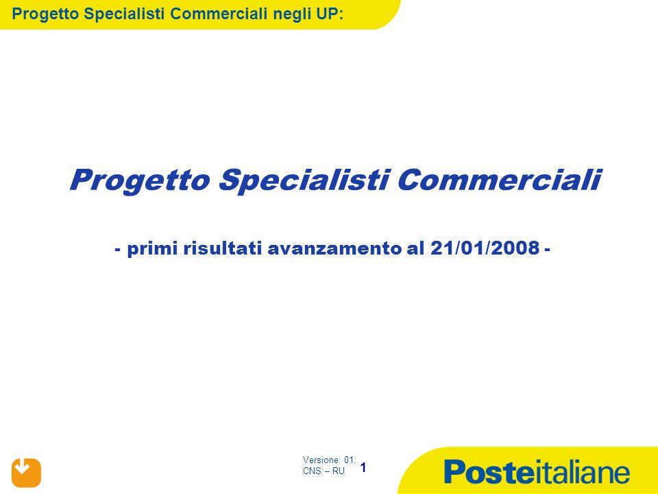 1 Versione: 01. CNS – RU Progetto Specialisti Commerciali - primi risultati avanzamento al 21/01/2008 - Progetto Specialisti Commerciali negli UP: