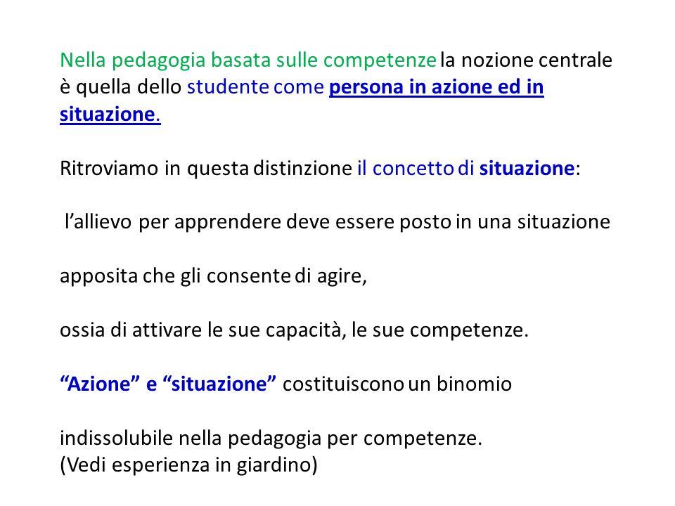 Nella pedagogia basata sulle competenze la nozione centrale è quella dello studente come persona in azione ed in situazione.