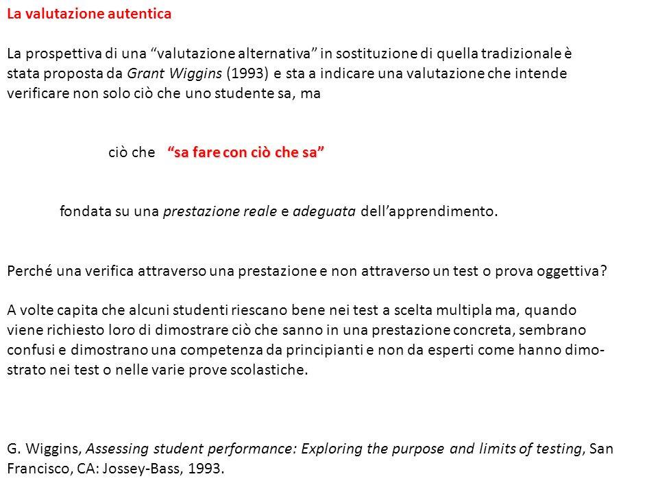 La valutazione autentica La prospettiva di una valutazione alternativa in sostituzione di quella tradizionale è stata proposta da Grant Wiggins (1993)