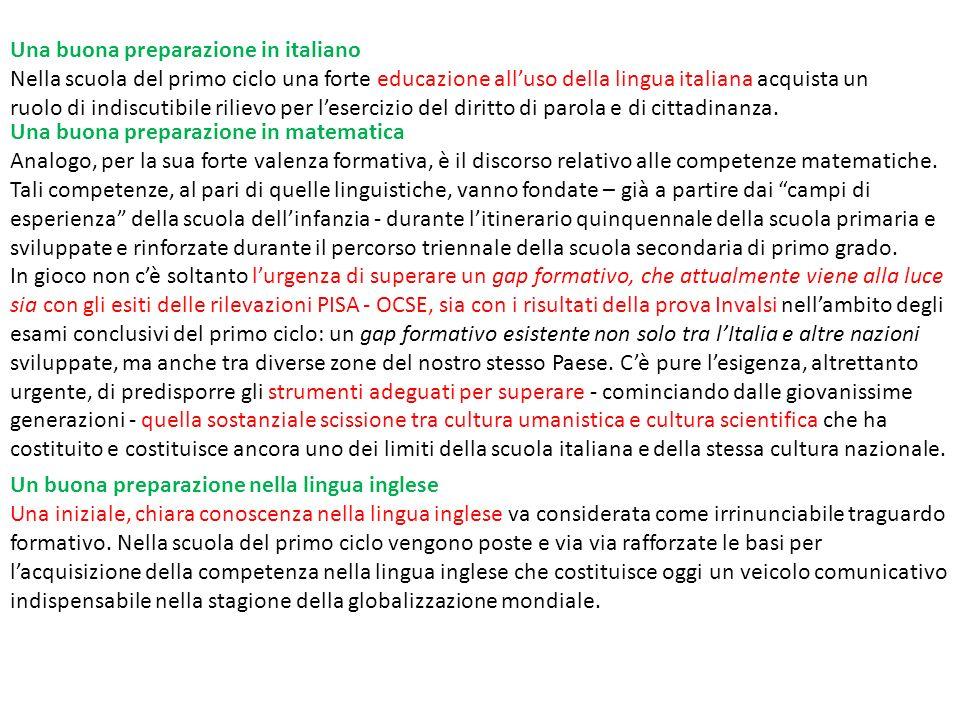 Una buona preparazione in italiano Nella scuola del primo ciclo una forte educazione alluso della lingua italiana acquista un ruolo di indiscutibile r