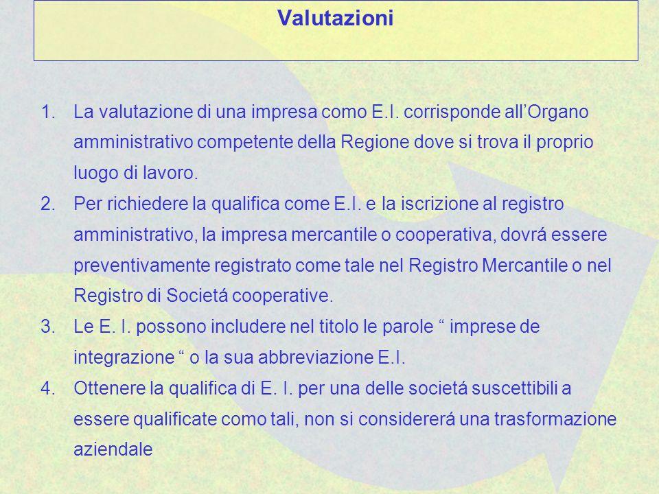 1.La valutazione di una impresa como E.I. corrisponde allOrgano amministrativo competente della Regione dove si trova il proprio luogo di lavoro. 2.Pe