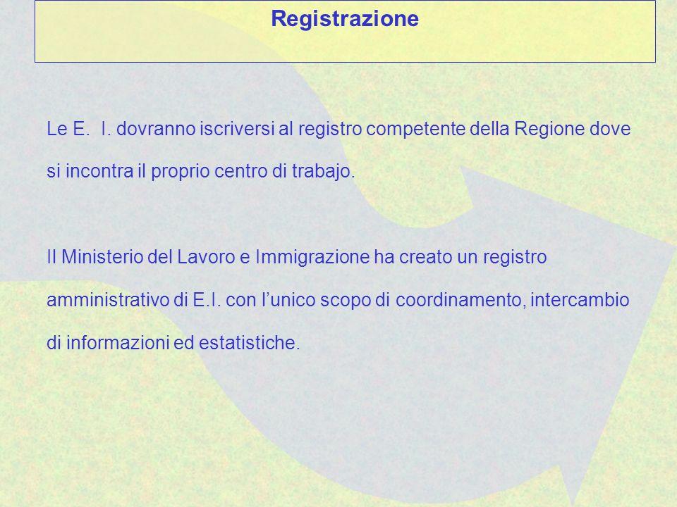 Le E. I. dovranno iscriversi al registro competente della Regione dove si incontra il proprio centro di trabajo. Il Ministerio del Lavoro e Immigrazio
