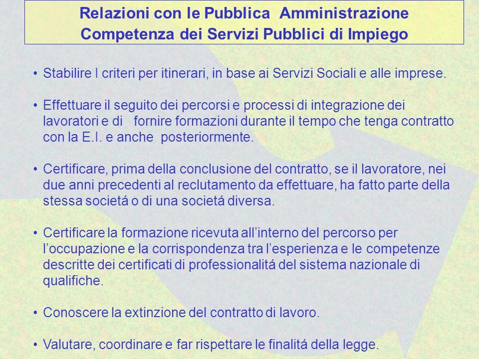 Stabilire I criteri per itinerari, in base ai Servizi Sociali e alle imprese. Effettuare il seguito dei percorsi e processi di integrazione dei lavora