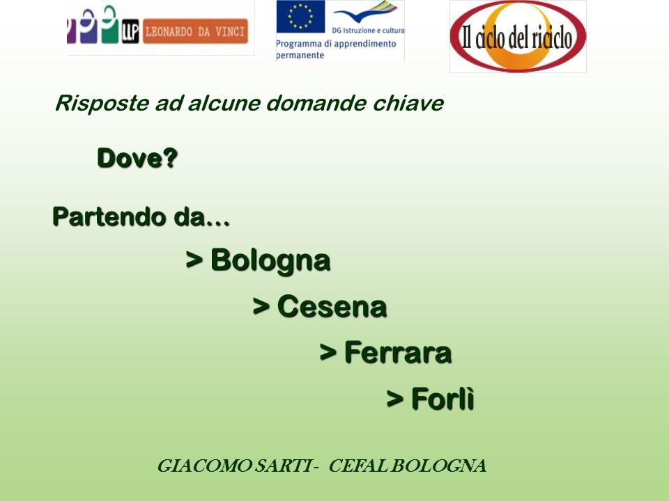 GIACOMO SARTI - CEFAL BOLOGNA Risposte ad alcune domande chiave Dove? Partendo da… > Bologna > Cesena > Ferrara > Forlì