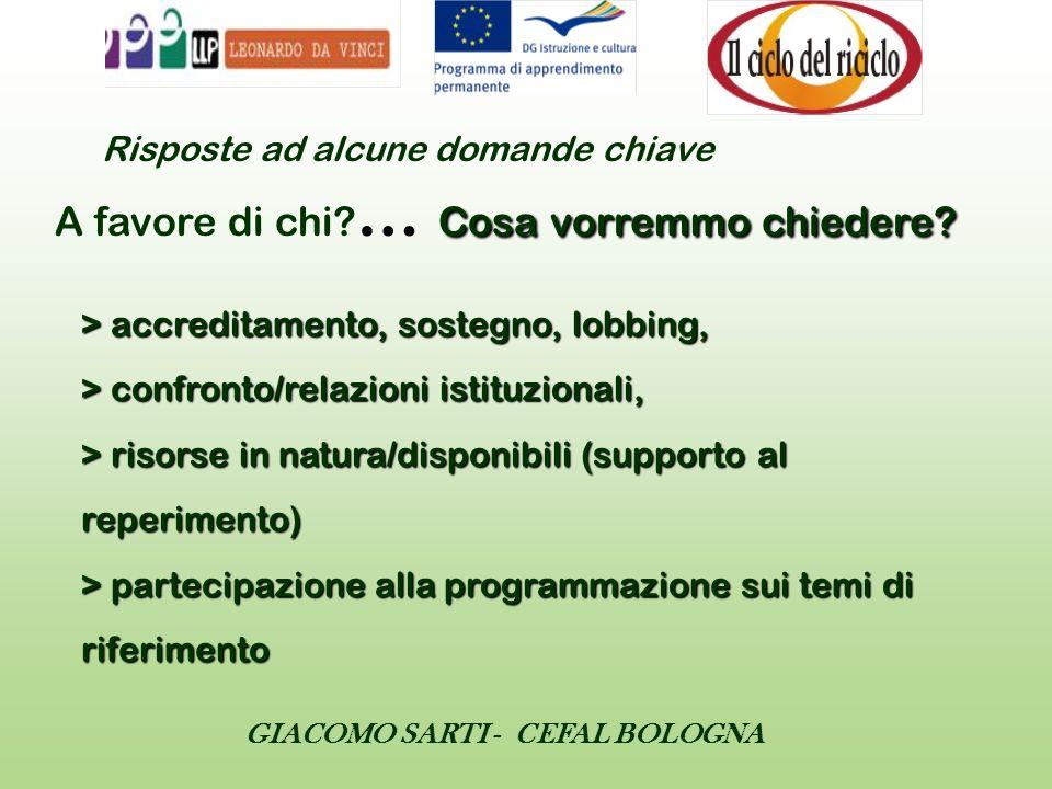 GIACOMO SARTI - CEFAL BOLOGNA > accreditamento, sostegno, lobbing, > confronto/relazioni istituzionali, > risorse in natura/disponibili (supporto al r