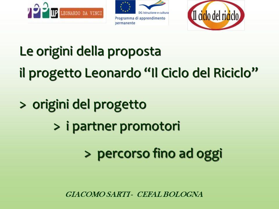 Le origini della proposta il progetto Leonardo Il Ciclo del Riciclo > origini del progetto > i partner promotori > percorso fino ad oggi Le origini de