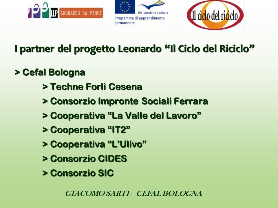 GIACOMO SARTI - CEFAL BOLOGNA I partner del progetto Leonardo Il Ciclo del Riciclo > Cefal Bologna > Techne Forlì Cesena > Consorzio Impronte Sociali