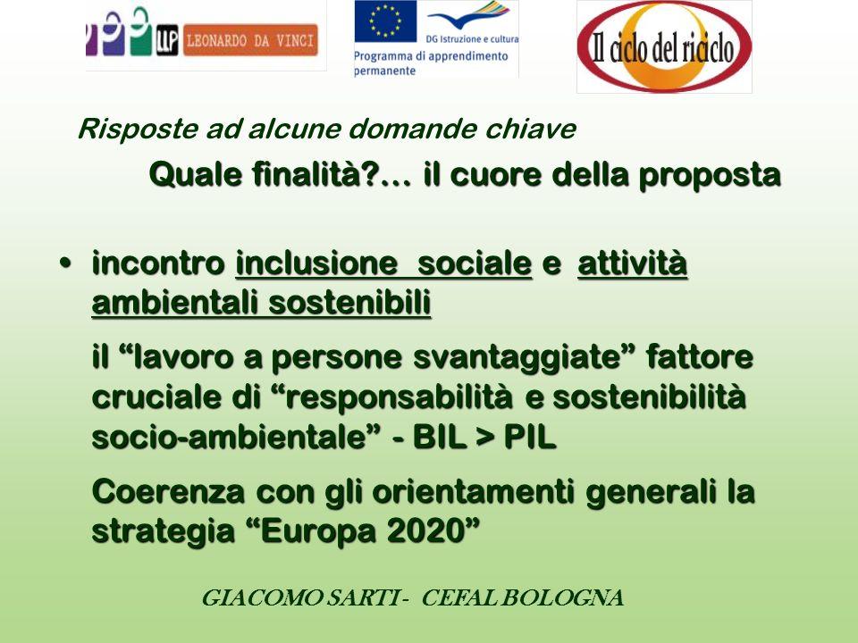 GIACOMO SARTI - CEFAL BOLOGNA incontro inclusione sociale e attività ambientali sostenibili il lavoro a persone svantaggiate fattore cruciale di respo