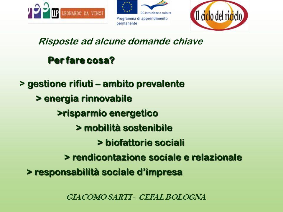 GIACOMO SARTI - CEFAL BOLOGNA Risposte ad alcune domande chiave Per fare cosa? gestione rifiuti – ambito prevalente > energia rinnovabile >risparmio e