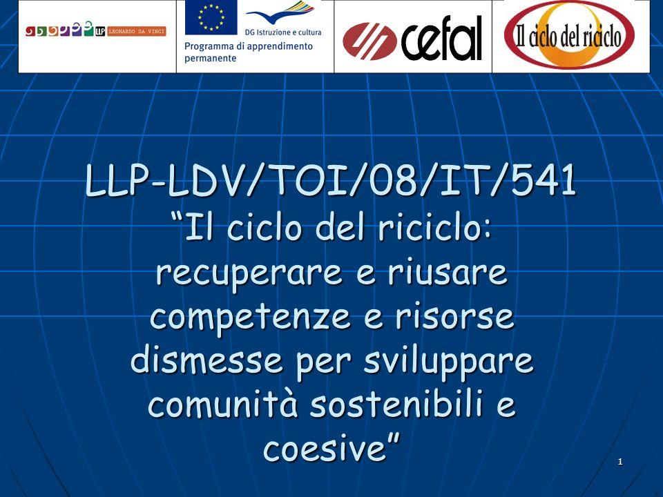 1 LLP-LDV/TOI/08/IT/541 Il ciclo del riciclo: recuperare e riusare competenze e risorse dismesse per sviluppare comunità sostenibili e coesive