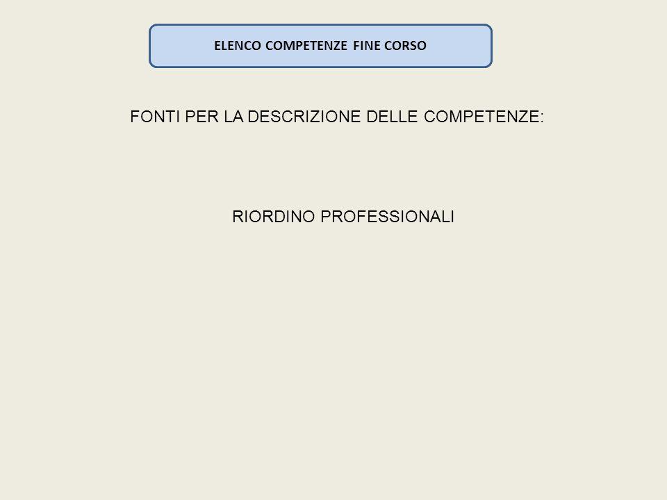 ELENCO COMPETENZE FINE CORSO FONTI PER LA DESCRIZIONE DELLE COMPETENZE: RIORDINO PROFESSIONALI