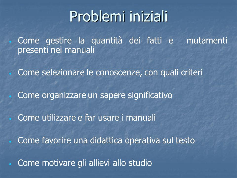 Problemi iniziali Come gestire la quantità dei fatti e mutamenti presenti nei manuali Come selezionare le conoscenze, con quali criteri Come organizza