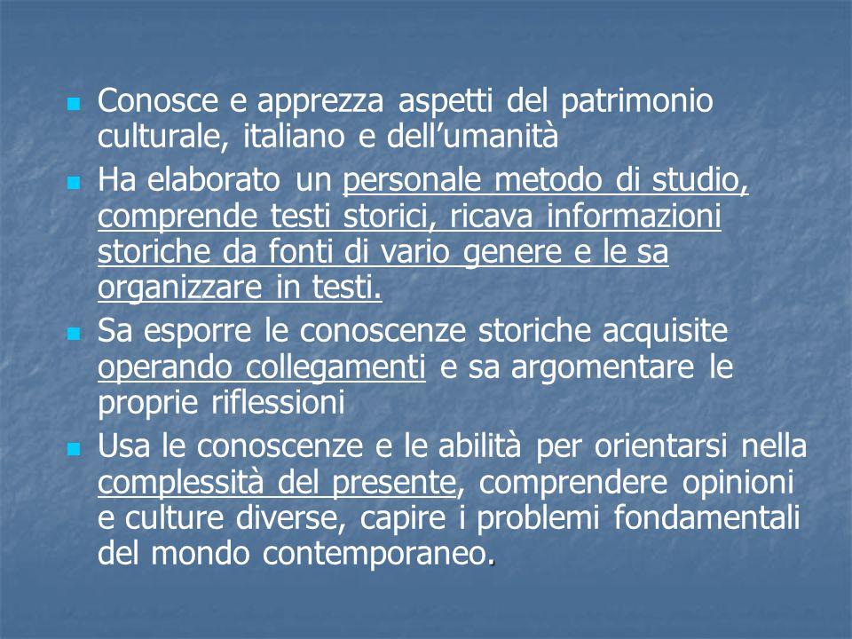 Conosce e apprezza aspetti del patrimonio culturale, italiano e dellumanità Ha elaborato un personale metodo di studio, comprende testi storici, ricav