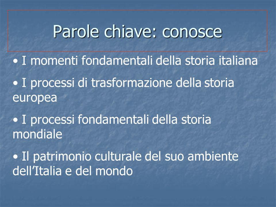 Parole chiave: conosce I momenti fondamentali della storia italiana I processi di trasformazione della storia europea I processi fondamentali della st