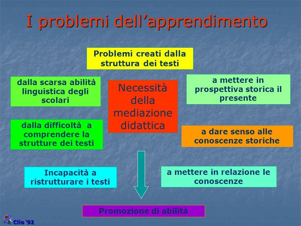 Problemi creati dalla struttura dei testi dalla scarsa abilità linguistica degli scolari dalla difficoltà a comprendere la strutture dei testi a dare