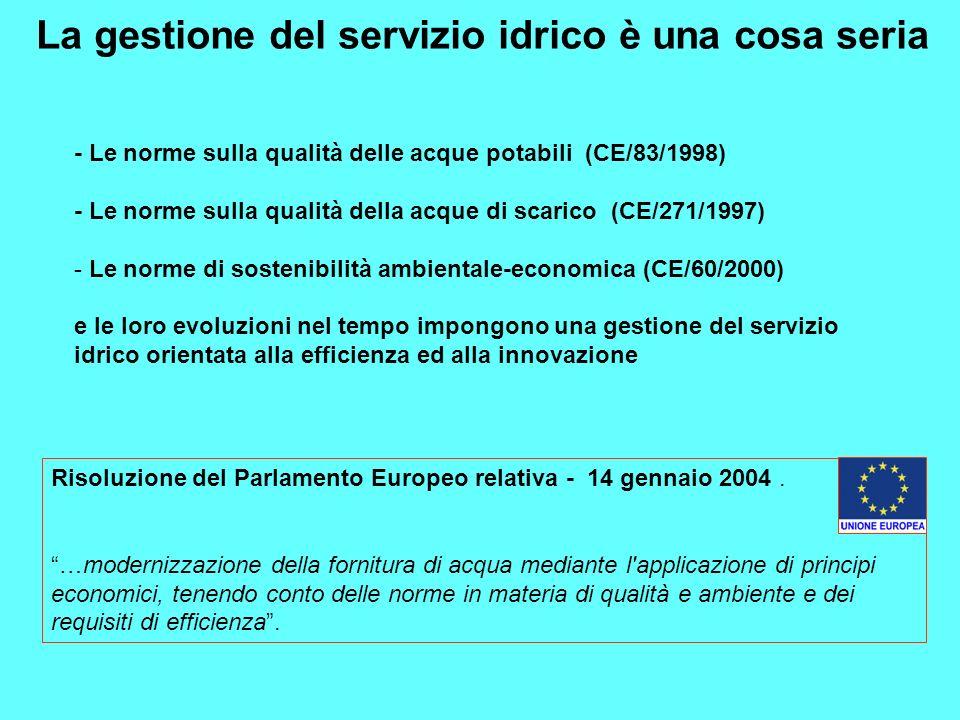 La gestione del servizio idrico è una cosa seria - Le norme sulla qualità delle acque potabili (CE/83/1998) - Le norme sulla qualità della acque di sc