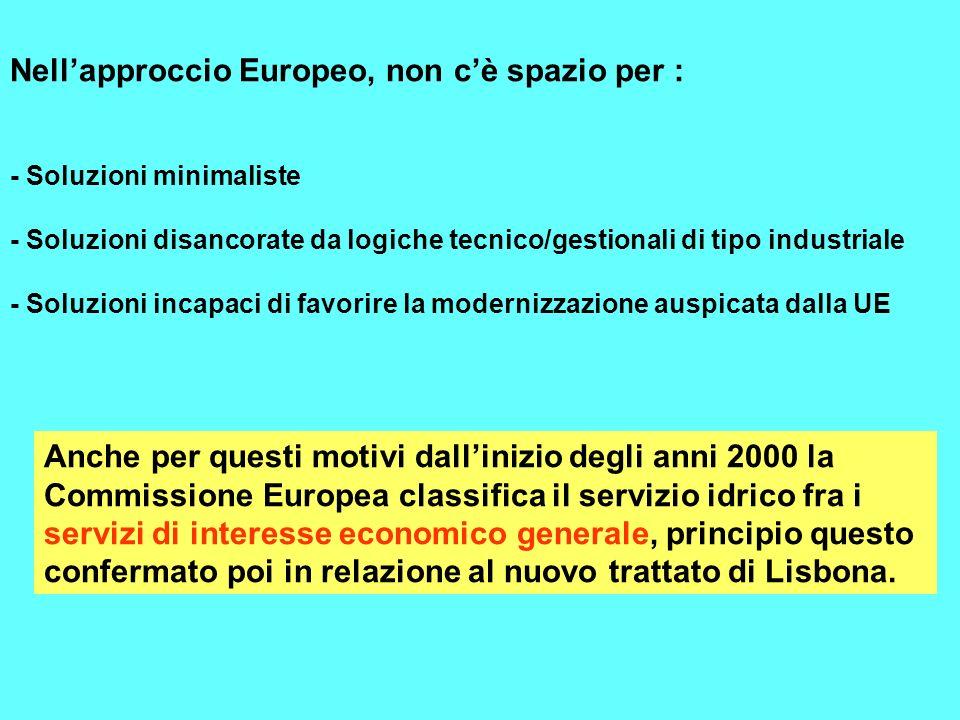 Nellapproccio Europeo, non cè spazio per : - Soluzioni minimaliste - Soluzioni disancorate da logiche tecnico/gestionali di tipo industriale - Soluzio