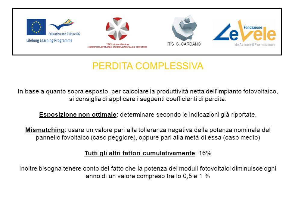 ITIS G. CARDANO PERDITA COMPLESSIVA In base a quanto sopra esposto, per calcolare la produttività netta dell'impianto fotovoltaico, si consiglia di ap