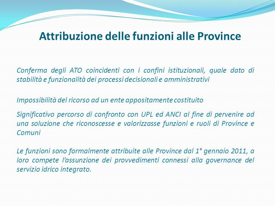 Attribuzione delle funzioni alle Province Conferma degli ATO coincidenti con i confini istituzionali, quale dato di stabilità e funzionalità dei proce