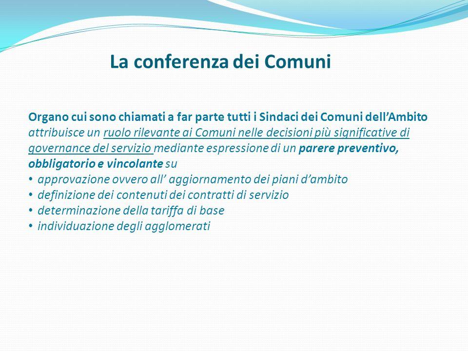 La conferenza dei Comuni Organo cui sono chiamati a far parte tutti i Sindaci dei Comuni dellAmbito attribuisce un ruolo rilevante ai Comuni nelle dec