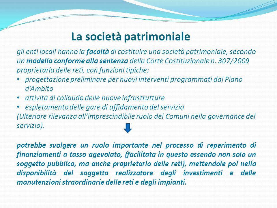 La società patrimoniale gli enti locali hanno la facoltà di costituire una società patrimoniale, secondo un modello conforme alla sentenza della Corte