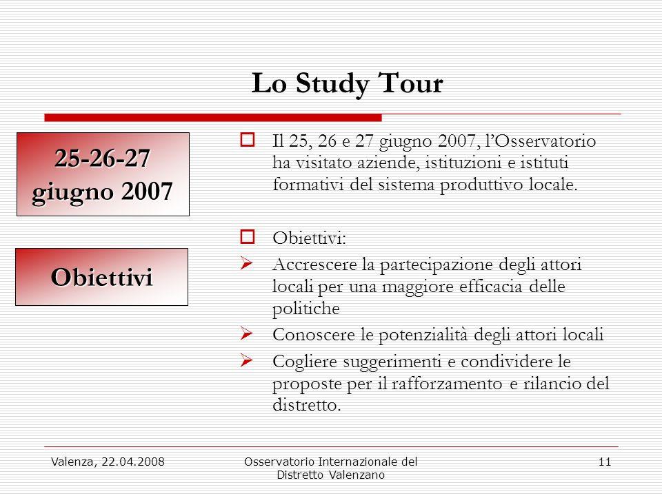 Valenza, 22.04.2008Osservatorio Internazionale del Distretto Valenzano 11 Lo Study Tour Il 25, 26 e 27 giugno 2007, lOsservatorio ha visitato aziende, istituzioni e istituti formativi del sistema produttivo locale.