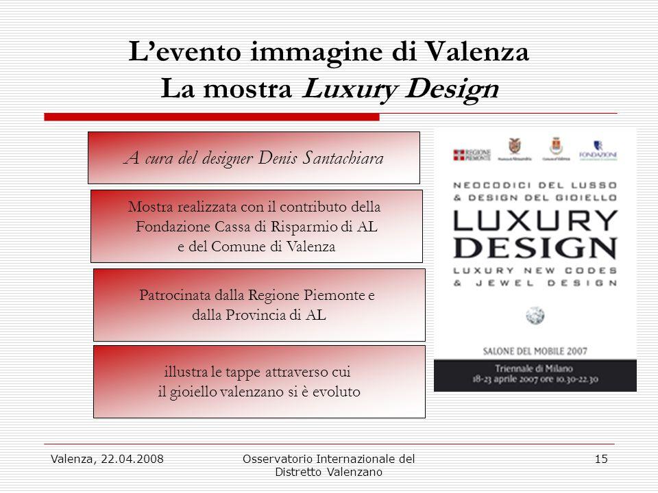 Valenza, 22.04.2008Osservatorio Internazionale del Distretto Valenzano 15 Levento immagine di Valenza La mostra Luxury Design A cura del designer Deni